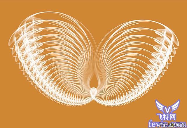 Photoshop滤镜制作的抽象光束翅膀 飞特网