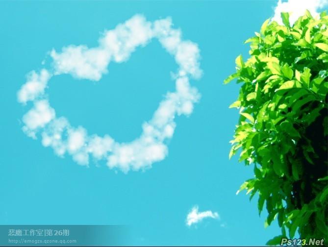 利用路径及画笔教你制作可爱的云彩图像