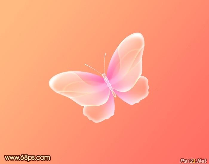 ps教你制作非常可爱的粉色水晶蝴蝶