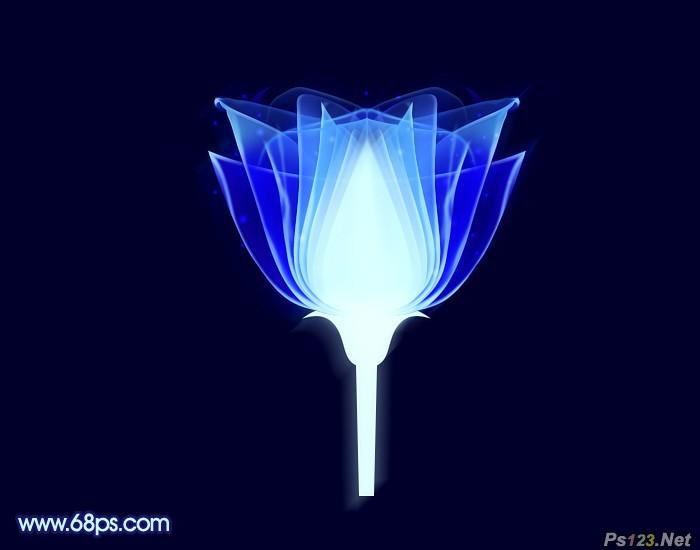 ps打造梦幻的蓝色光束花朵