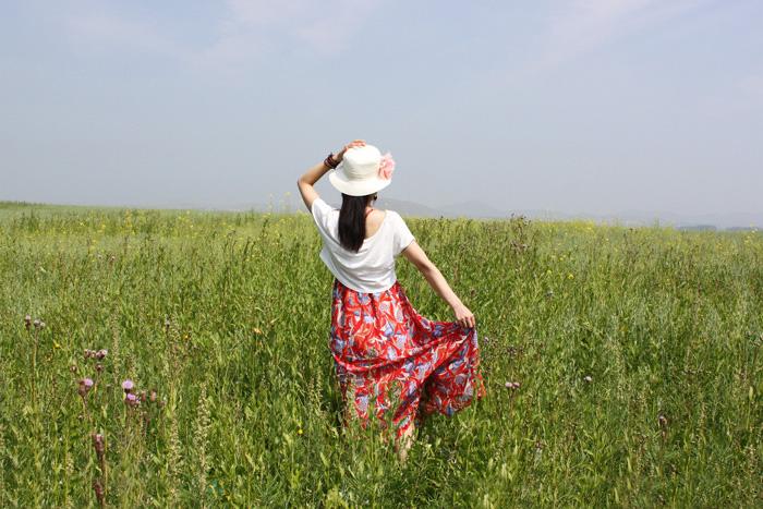 ps给草原上的美女加上清爽的红褐色