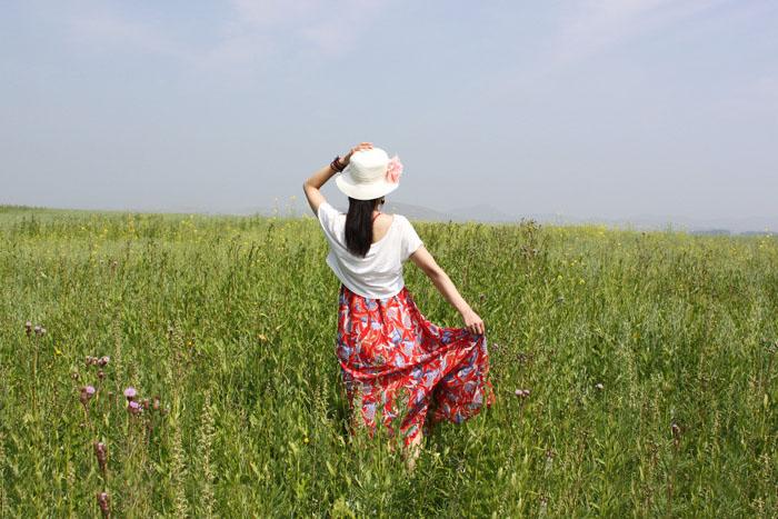 ps给草原人物加上淡雅的青黄秋季色
