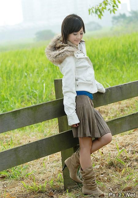 ps给田园美女加上淡雅的韩系淡蓝色