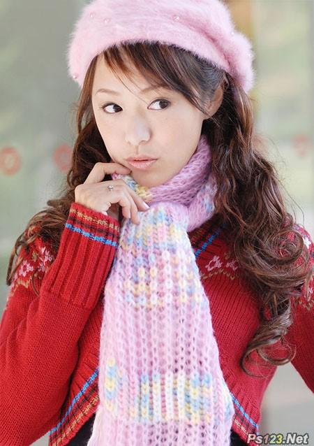ps给冬季美女图片加上淡紫色蜜糖色