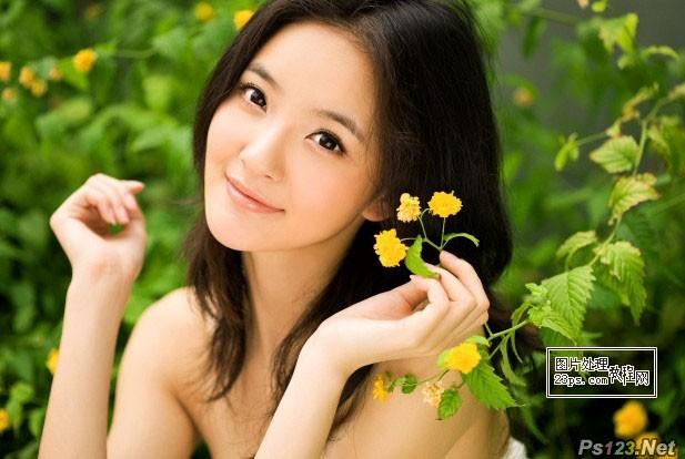 ps给外景美女照片增加唯美的橙黄色