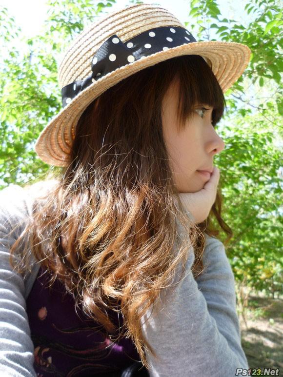 ps给外景人物照片加上漂亮的粉调橙褐色