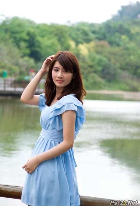 ps调出湖边美女图片甜美的日系粉色调