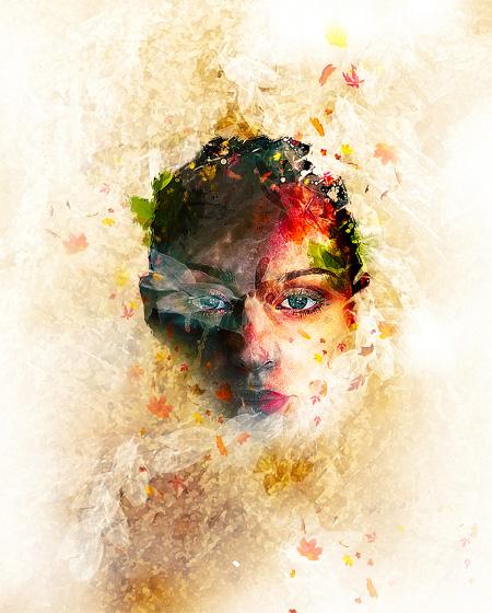 ps打造抽象的艺术树叶头像效果