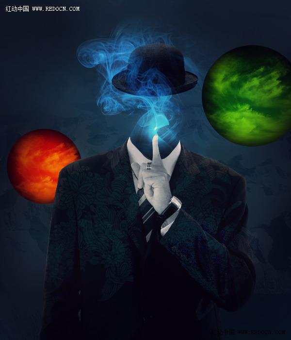 PS给帅哥加上迷幻的烟雾头像