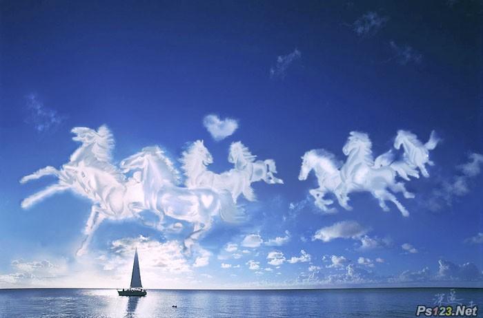 PS合成天空奔跑的白马