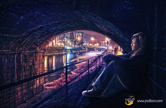 PS合成桥洞中欣赏夜景的孤独美女
