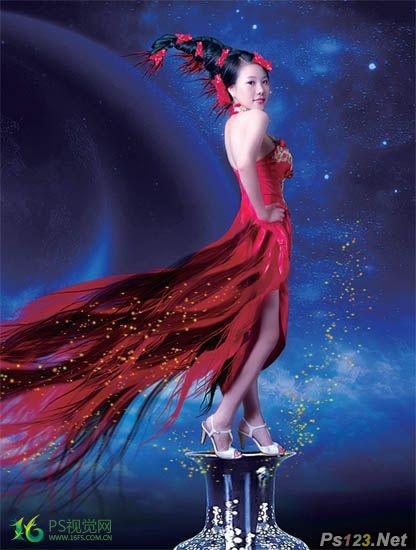 PS合成唯美的中国风美女图片