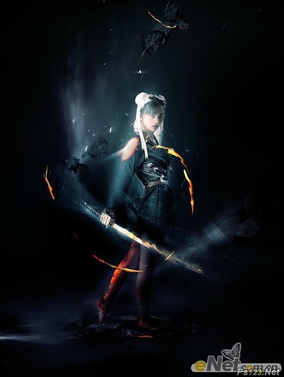 PS合成超酷的火焰武士