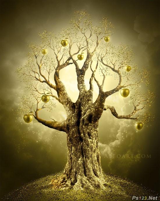 PS合成结满金苹果的梦幻古树