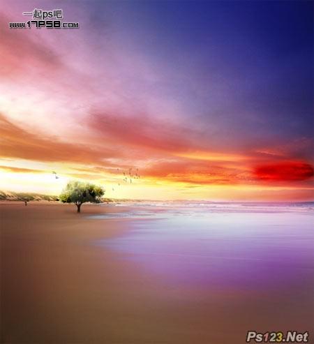 PS简单合成漂亮的海边日出场景