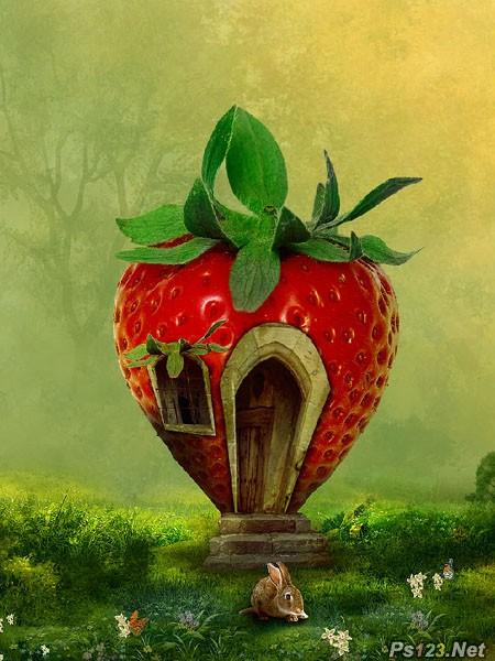 PS合成非常可爱的红色草莓小居