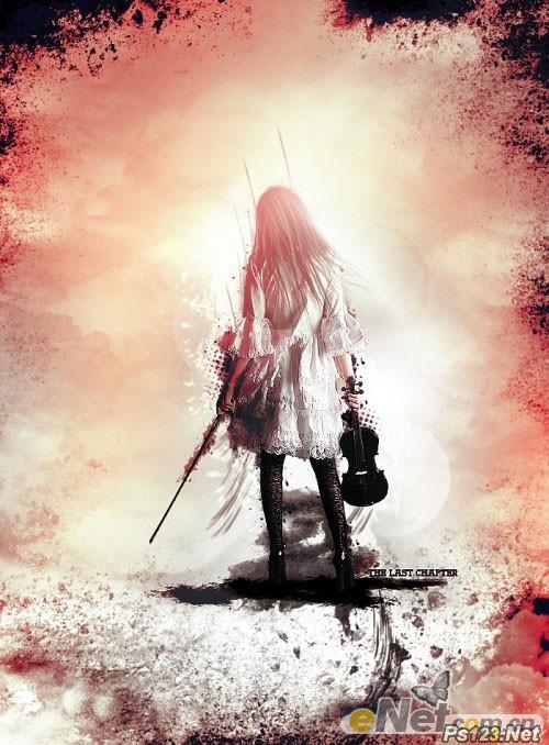 PS合成颓废的水墨小提琴演奏者