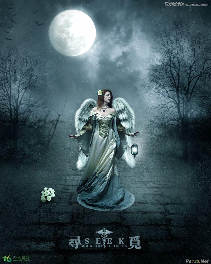 ps合成迷雾森林中的天使