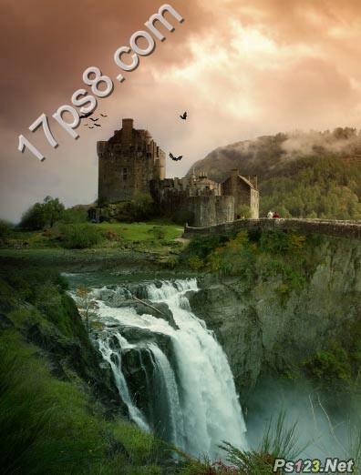 PS简单合成瀑布城堡美景
