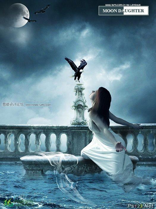 ps合成被海水淹没的城堡和祈祷的女孩