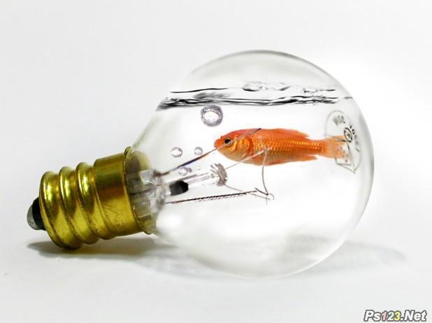 PS简单合成灯泡中吐水泡的金鱼