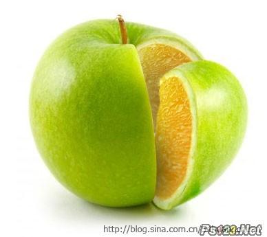 PS把橙子的果肉合成到苹果里面