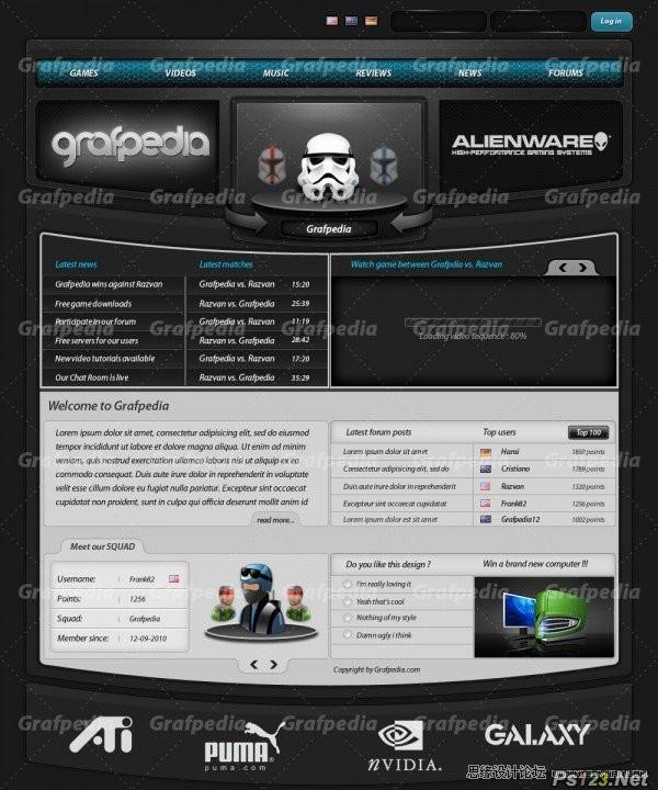 ps设计黑色风格的游戏网站模板