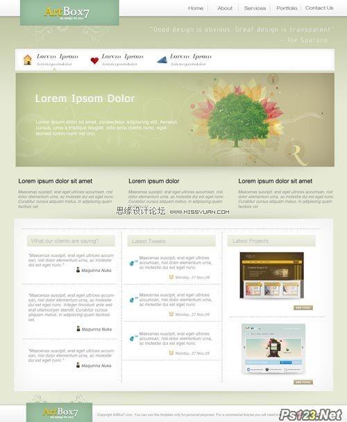 ps设计一个简洁灰色系的网页模板