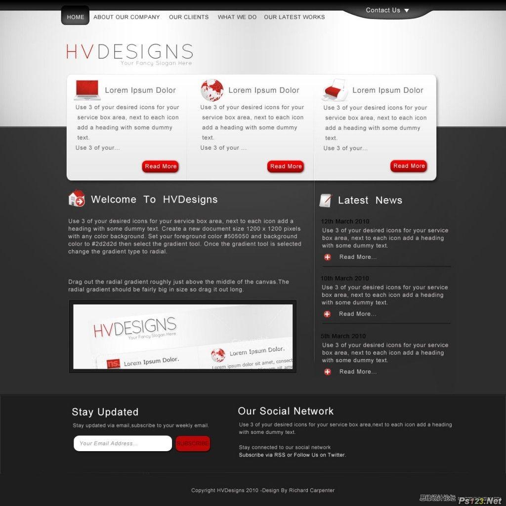 ps设计黑色系商务网站布局教程