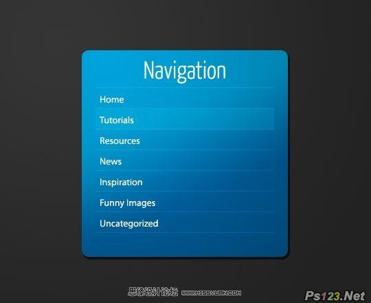 ps教你制作一个简洁的蓝色导航框