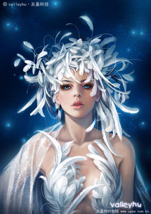 PS结合数位板鼠绘漂亮的羽毛公主