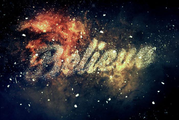 利用笔刷教你制作梦幻的星云粒子字