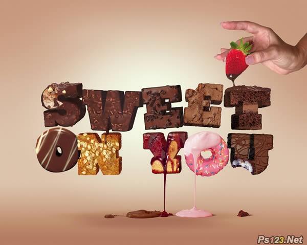 ps教你制作香脆的巧克力糖果立体字