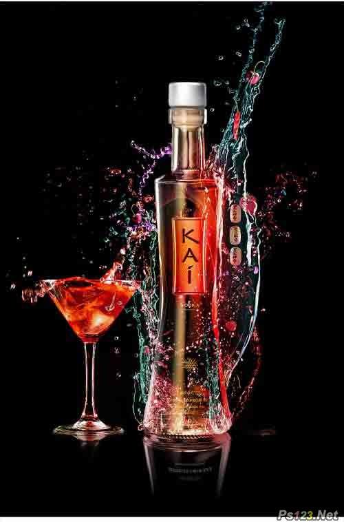 ps设计多彩的酒类产品广告