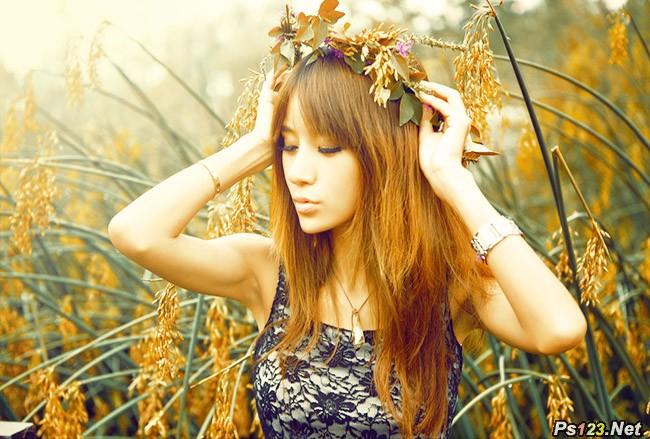 photoshop cs6 给野外美女添加灿烂金黄色调