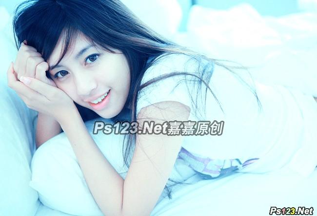 photoshop cs6 为甜美女孩添加梦幻的淡蓝色调