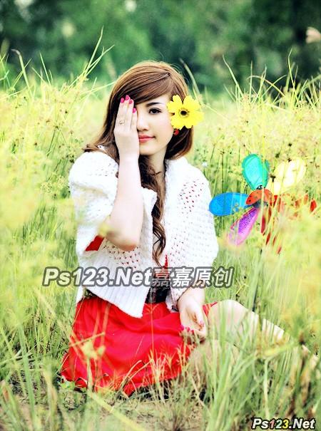 photoshop cs6 打造草原少女清新的淡绿色调