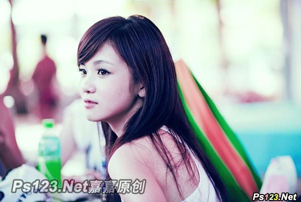 photoshop cs6打造甜美的黄绿色美女照片