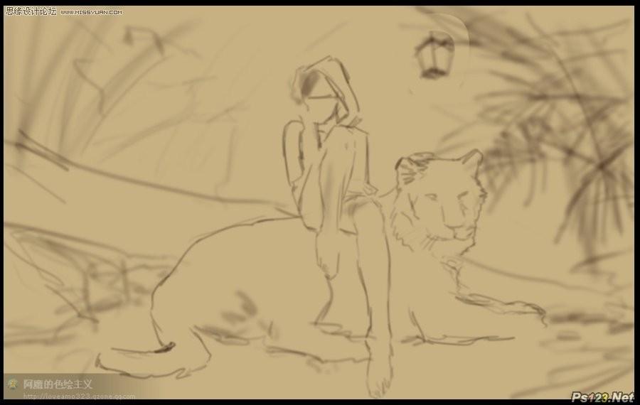 ps制作坐在老虎背上的个性美女壁纸