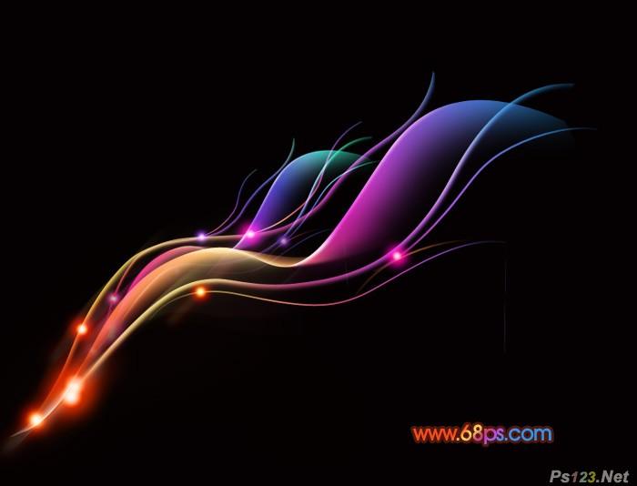 ps教你制作梦幻的彩色艺术光丝壁纸