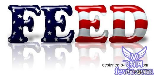 PS教你制作美国国旗包裹的文字效果