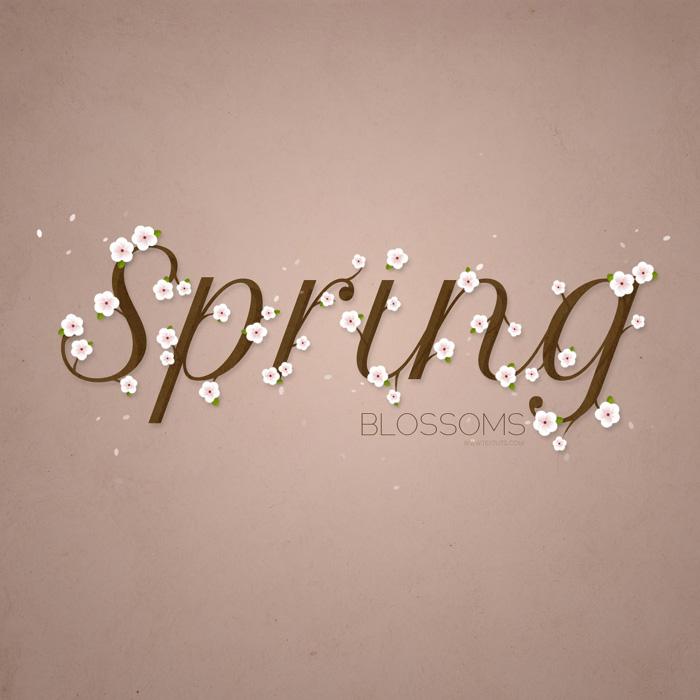 ps教你制作充满诗情画意的春天小花朵字