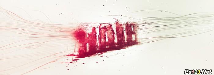 ps教你制作个性红色彩丝喷溅字
