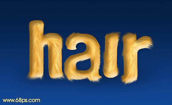 利用涂抹及减淡工具教你制作可爱的毛发字