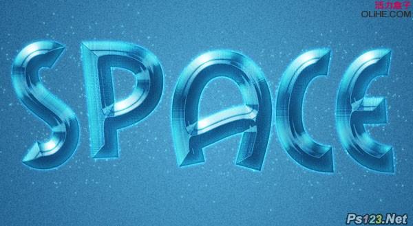 ps教你制作梦幻的蓝色浮雕字