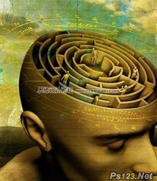 ps合成大脑迷宫科技宣传海报教程