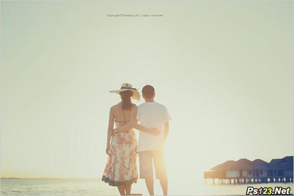 浪漫淡雅海边婚纱人像摄影技巧 人像摄影