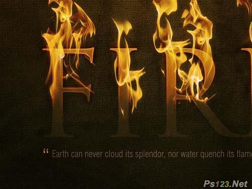 利用火焰素材打造正在燃烧的文字 飞特网