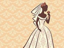 新娘剪影矢量图
