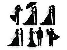 婚礼剪影矢量图